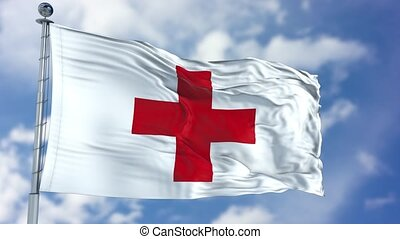 Red Cross Waving Flag