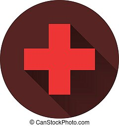 Red cross with a shadow on a circle of dark red, vector