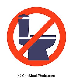 red crossed out toilet sign. toilet prohibition.