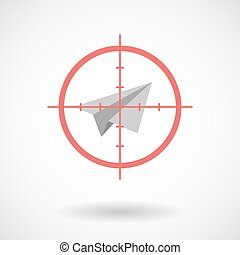 Red crosshair icon targeting a paper plane
