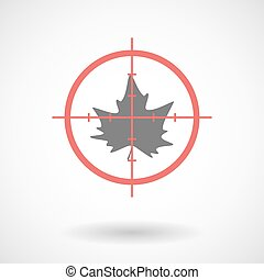 Red crosshair icon targeting an autumn leaf tree