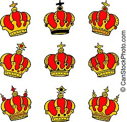 Red crown style collection doodles