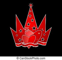 Red crown with hearts