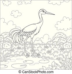 Crane bird near a small pond among cane, grass and flowers of a meadow on a summer day, black and white vector illustration in a cartoon style