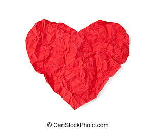 Red crumple paper heart - Red crumpled paper heart isolated...