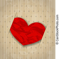 Red crumpled paper heart for Valentine Day