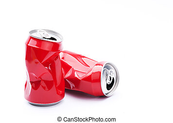 Red crushed cans