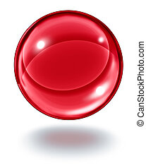 Red Crystal Ball - Red crystal ball floating in the air as a...