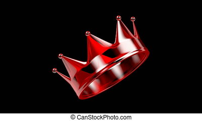 Red crystal crown spins on black background