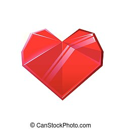 Red crystal heart isolated on white background. Design element for Valentines day. Vector illustration.