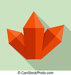 Red crystal icon, flat style