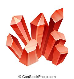 Red crystals. Vector illustration on a white background.