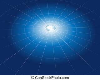 red, cuadrícula, de, tecnología, tierra, órbitas