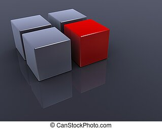 red cube - 3d rendered illustration of three grey and one...