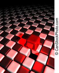 Red cube alone above many black and white cubes