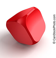 red cube dice on white background