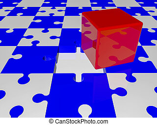 Red cube on puzzle pieces in blue