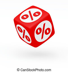 Red cube with a percent sign on the sides (isolated) (3D render)