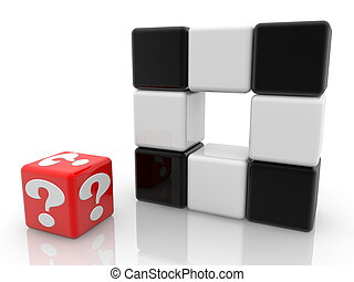 Red cube with question mark near black and white cubes