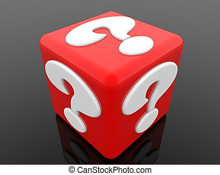 Red cube with white question mark concept on black background