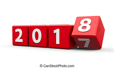 Red cubes 2018 - Red cubes with 2017-2018 change on a white...