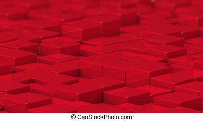 Red cubes moving up and down in a random pattern. 3D animated motion background loop.