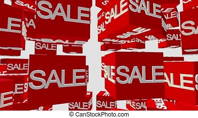 Red cubes with inscription sale on white