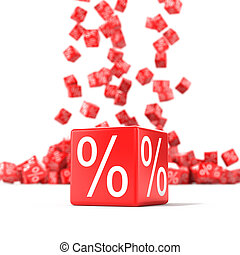Red cubes with percent in focus