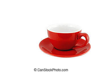Red cup coffee on a white background, with clipping path