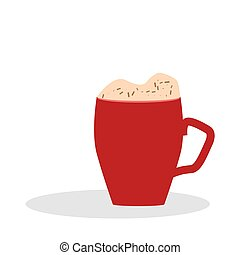 Red cup. Cup of hot chocolate