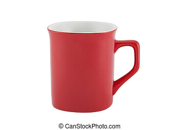 Red cup isolated on white background with clipping path