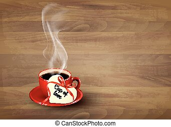Red cup of coffee with a heart shaped valentine note on wooden background. Vector.