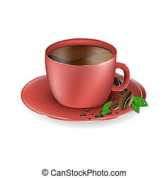 Red cup of coffee with coffee beans