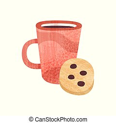 Red cup of tea and sweet cookie. Mug of fresh coffee. Tasty snack and beverage for breakfast. Flat vector icon with texture