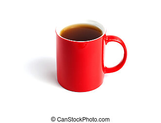 Red cup of tea on white background.