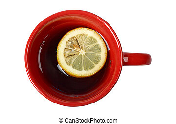 Red cup of tea with lemon
