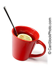Red cup of tea with lemon and the spoon