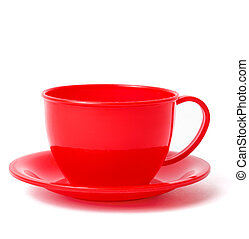red cup on saucer