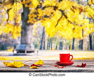 Red cup on wooden table with background of park