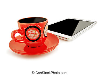 Red cup with a saucer and the table