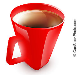 red cup with coffee or dark tea over white