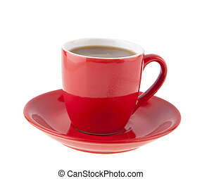 red cup with coffee isolated on white background