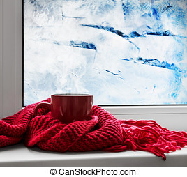 red cup with hot drink