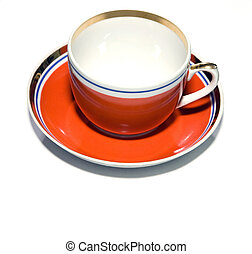 red cup with saucer
