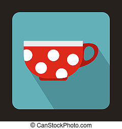 Red cup with white dots icon, flat style
