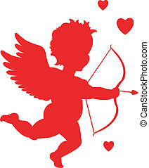 red cupid silhouette valentine's day