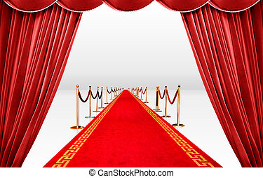 Red curatin and carpet