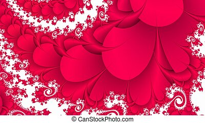 Red curlicue on white fractal background