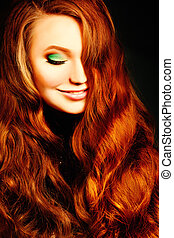 Red Curly Hairstyle Woman. Fashion Portrait