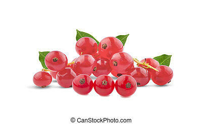 Red currant berries with leafs an isolated on white background